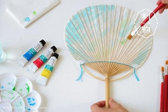 竹子手绘团扇的方法/步骤