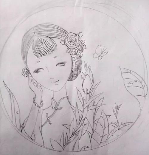 工笔团扇仕女图绘画方法