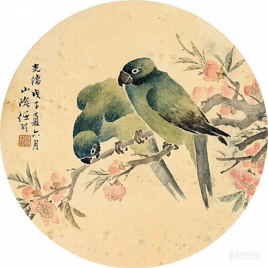 任伯年团扇花鸟画的艺术特色