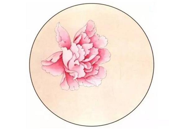 用真丝空白团扇绘制牡丹图的方法