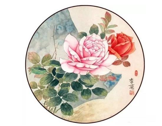 空白团扇绘制牡丹图的方法     五,牡丹花和叶染好干后,点花蕊,画叶筋