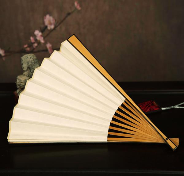 玉竹嵌红木边折扇