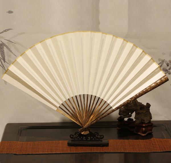 棕竹竹节折扇