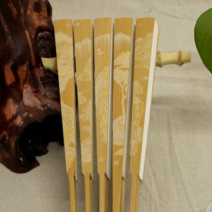 玉竹留青雕刻折扇