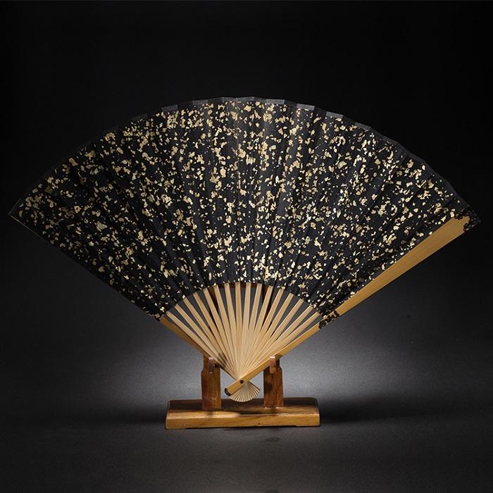 玉竹嵌龟片二龙戏珠折扇