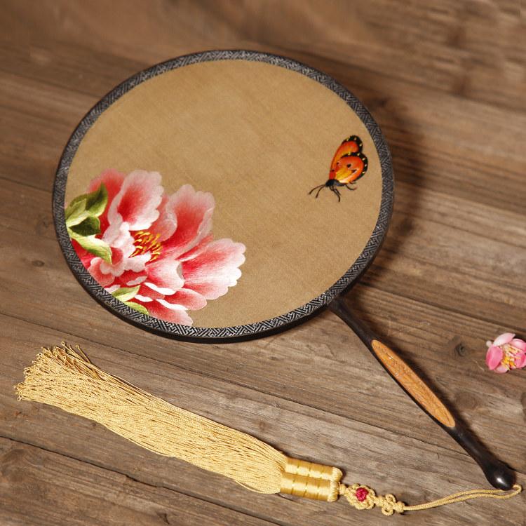 红木嵌竹子双面刺绣团扇