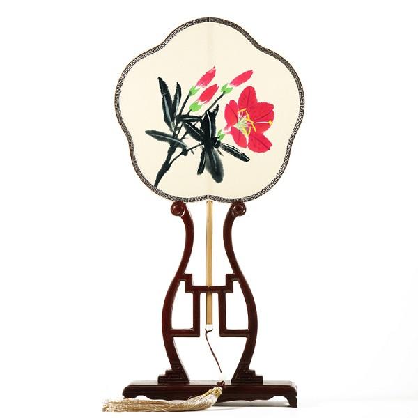 玉竹炳真丝喷绘团扇花卉图