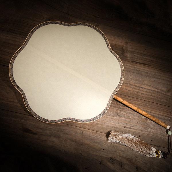 玉竹雕刻炳空白真丝团扇