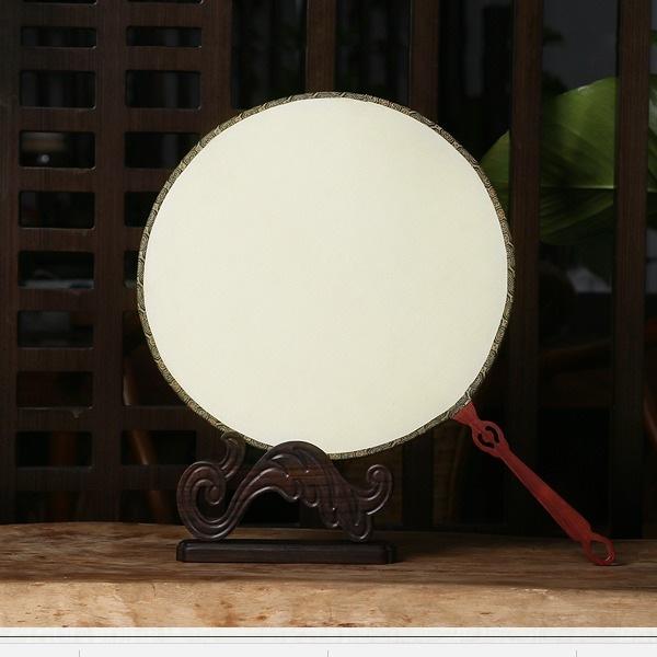 镂空红木柄绢团扇